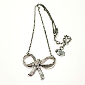 """Juicy Couture Silver Bow Necklace 16"""" to 19"""""""